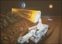 impressie van de winning van helium-3 op de maan
