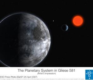 Schets van Gliese 581 c op de voorgrond