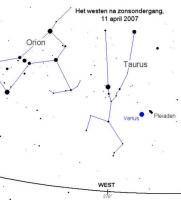Venus en de Pleiaden woensdagavond bijeen