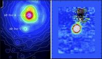 Links de 'gewone' foto van het systeem AB Doradus, rechts de update van AB Doradus C