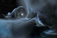 Impressie van het zwarte gat in IC 10 met rechtsonder z'n begeleider