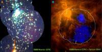 Hete gaswolk in de Orionnevel met de vorm van de kerstman