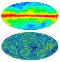 Boven de LAB-kaart, onder de WMAP-kaarten van de CMB. Wie ziet de verschillen?