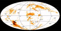 Overzicht van High Velocity Clouds aan de hemel