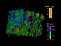 Hoogtekaart van de zuidpool van de Maan