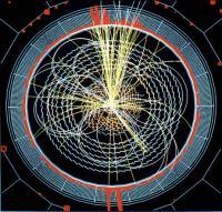 Zo zou een 'gesnapt' Higgsdeeltje er uit kunnen zien.