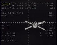 ATV Jules Verne gezien vanuit het Russische servicemodule Zvezda