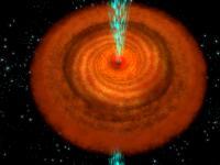 Schets van het centrale zwart gat in een BAL quasar