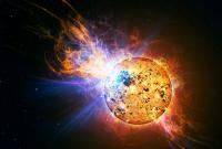 Voorstelling van de uitbarsting van een zonnevlam op EV Lacertae