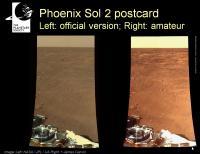 Beelden van de Phoenix, links van de NASA en rechts door een amateur bewerkt