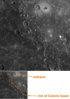 De ontdekte vulkaan op Mercurius