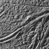 Beeld van het zuidpoolgebied op Enceladus