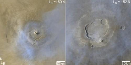 Stofstormen boven Arsia Mons (l) en Olympus Mons (r)