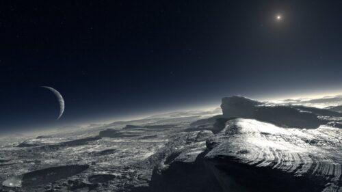 Impressie van de dampkring van  Pluto