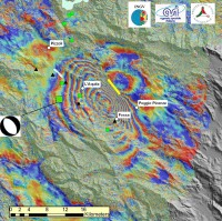Aardbeving Italië gezien vanuit de ruimte