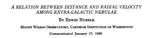 Hubble's originele artikel uit 1929