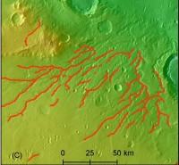 Vroegere rivierbeddingen op Mars