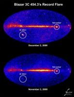 Fermi ziet record-uitbarsting van een blazar