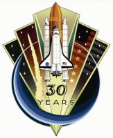 De winnende 'patch' van 30 jaar Space Shuttles