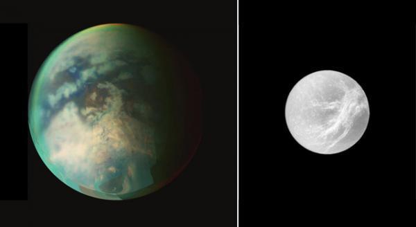 Cassini vliegt langs Titan en Dione