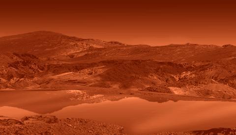 Impressie van een ethaanmeer op Titan