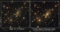 De zwaartekrachtslenzen in Abell 2218 door Hubl en Hubble