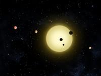 Het Kepler-11 systeem met zes exoplaneten, een impressie