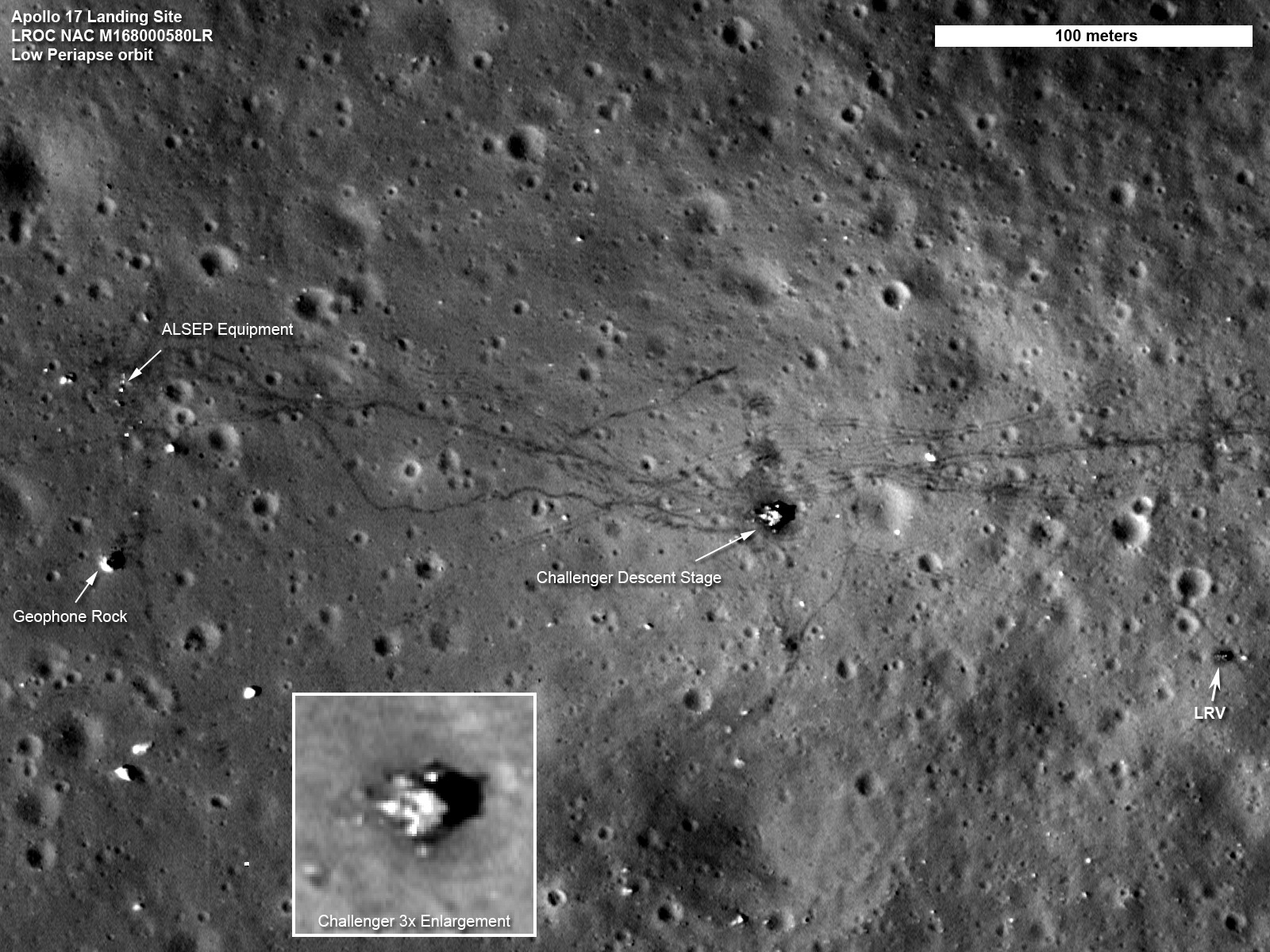 LRO's foto van de landingsplaats van de Apollo17