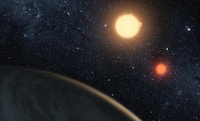 Voorstelling van het systeem Kepler-16