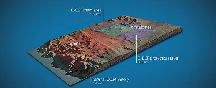 Het gebied van 189 km2 rondom de Cerro Armazones, waar de E-ELT komt
