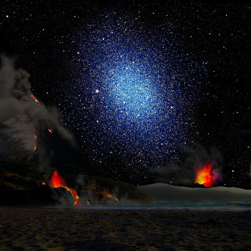Impressie van een dwergstelsel, bekeken vanaf een denkbeeldige exoplaneet