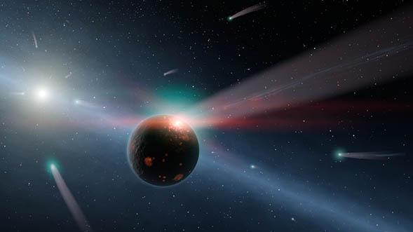 Een regen van kometen rondom de ster Eta Corvi