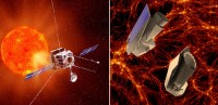 De Solar Orbiter en twee modellen van Euclid