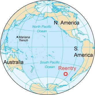 Phobos-Grunt boven zuidelijke deel Grote Oceaan neergekomen