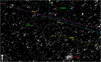 Zoekkaartje van Vesta en Ceres in 2012