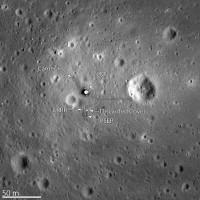 De landingsplek van de Apollo 11, gefotografeerd door de LRO