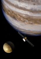 Impressie van JUICE, vlakbij Jupiter en de maan Europa