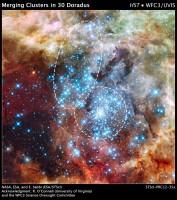 Hubble ziet sterrenhopen in 30 Doradus op het punt van samensmelten