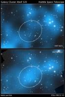'Donkere kern' van cluster Abell 520 blijkt toch niet zo donker te zijn als gedacht