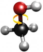 Het methanol molecuul (CH3OH).