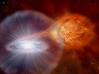 Een witte dwerg, die als type Ia supernova explodeert