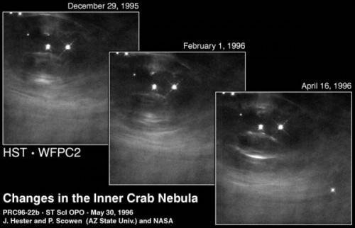 Changes in inner crab nebula