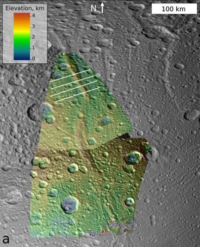 inzakkende berg op Dione