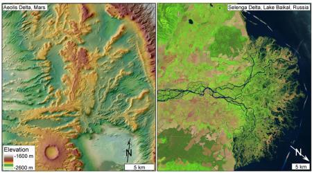 Aeolis Delta compared to Selenga Delta