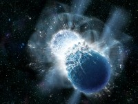 Impressie van twee botsende neutronensterren, die GRB 130603B veroorzaken