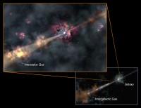 Impressie van de GRB 130606A en het gloeien van de gas en stofwolken in het sterrenstelsel
