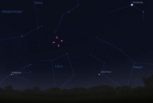 Zichtbaarheid van planetoïde Mariekebaan op 1 augustus rond 23.00 uur