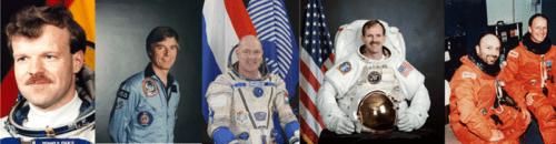 Van links naar rechts: Reinhold Ewald, Ulf Merbold, André Kuipers, Steven Smith & Franco Malerba