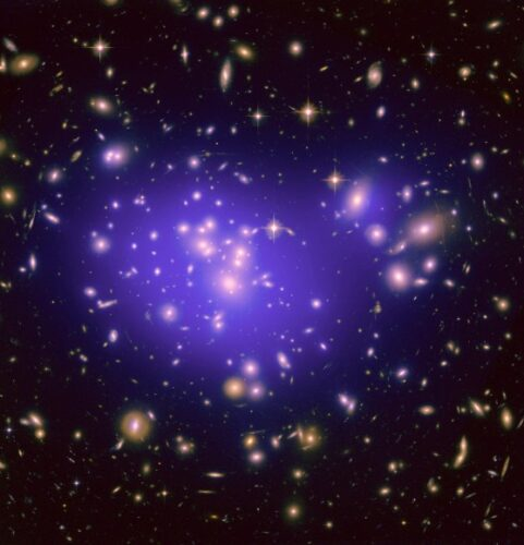 Op indirecte wijze is donkere materie al waargenomen, zoals hier in de cluster van sterrenstelsels abell 1689.