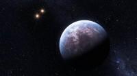 Voorstelling van een exoplaneet bij een dubbelster